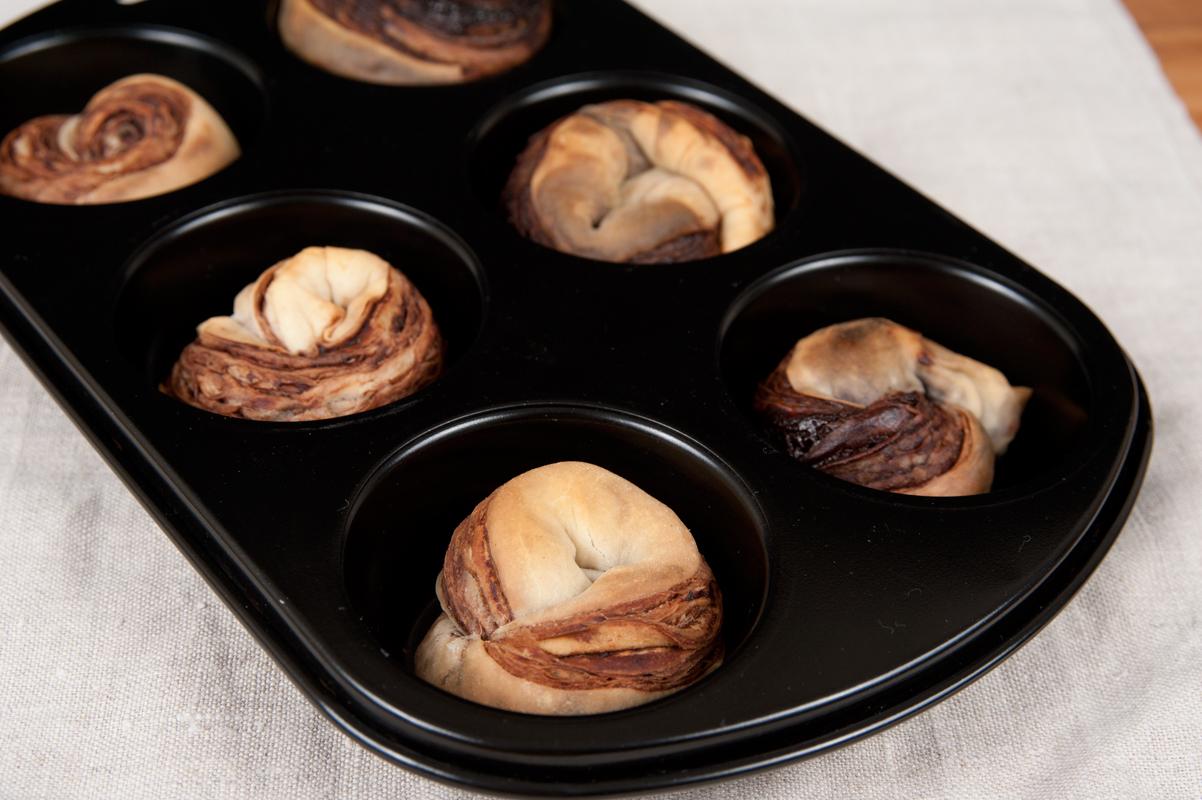 Cruffin mit Schokoladenfüllung