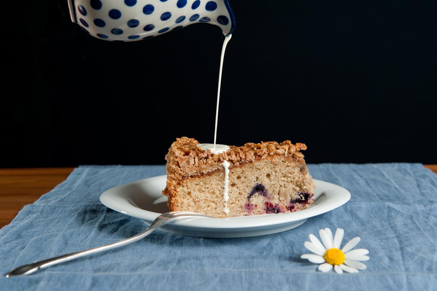 Einfacher Beeren-Kuchen mit Weizenvollkornmehl
