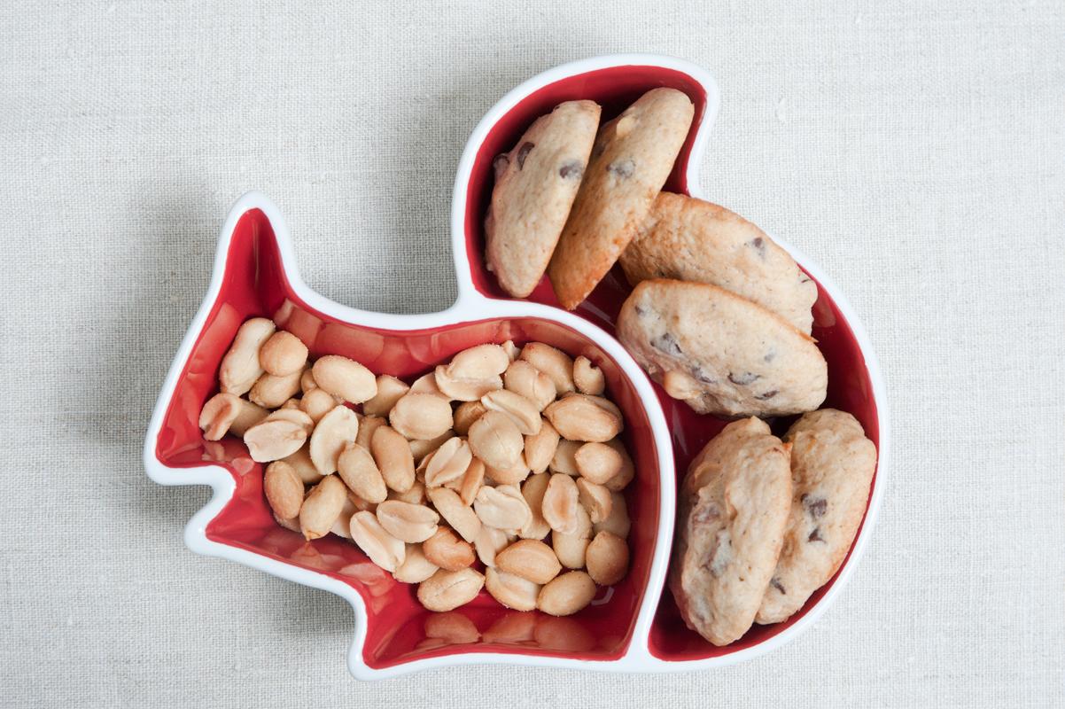 Erdnuss Kekse mit Schokolade und Banane