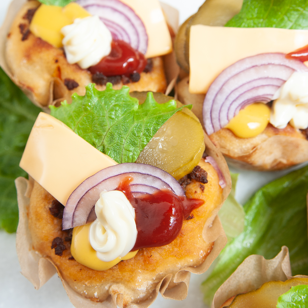 Mini-Muffin-Burger mit Dinkelmehl
