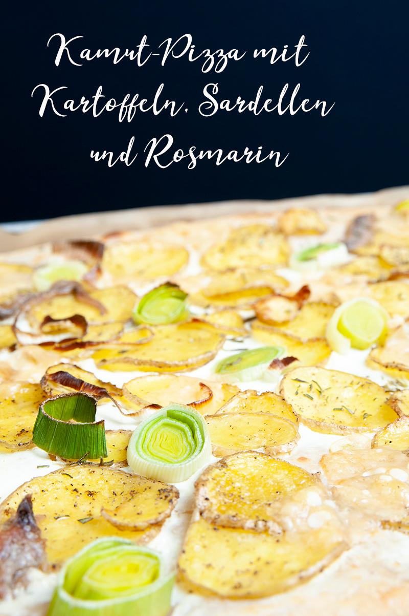 Rezept für Kamut-Pizza mit Kartoffeln und saurer Sahne